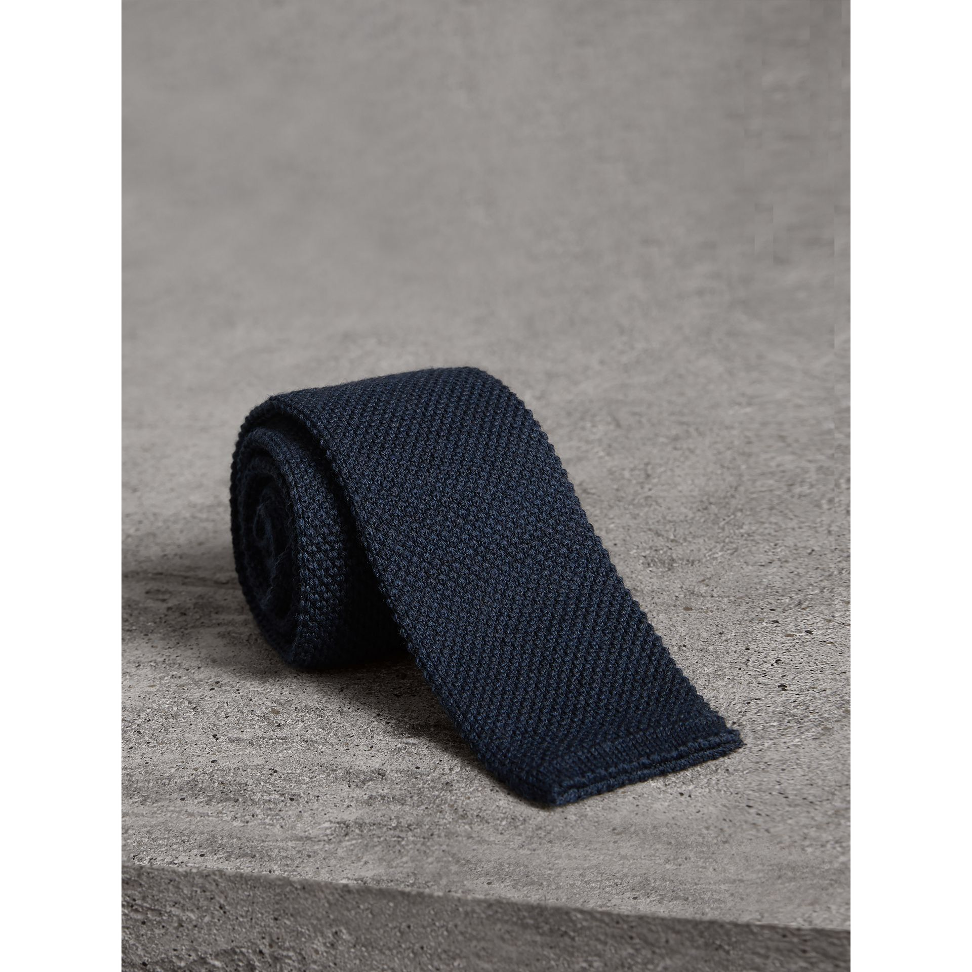 Slim Cut Waffle Knit Wool Tie in Navy - Men | Burberry United States - gallery image 0