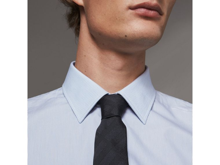 Modern Fit Striped Cotton Poplin Shirt in City Blue - Men | Burberry United Kingdom - cell image 1