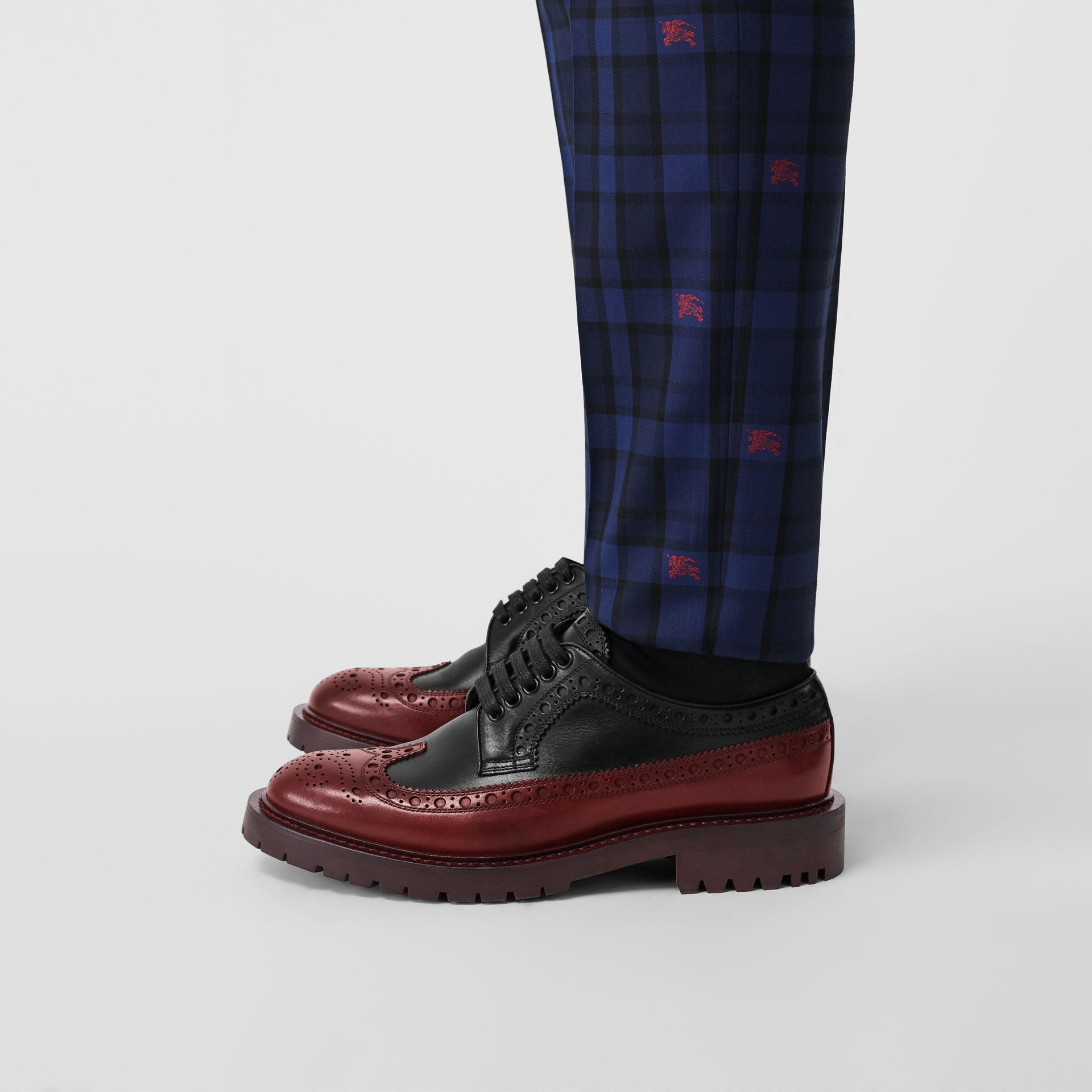 Brogue Detail Leather Derby Shoes in Black/antique Garnet - Men | Burberry United Kingdom - gallery image 2