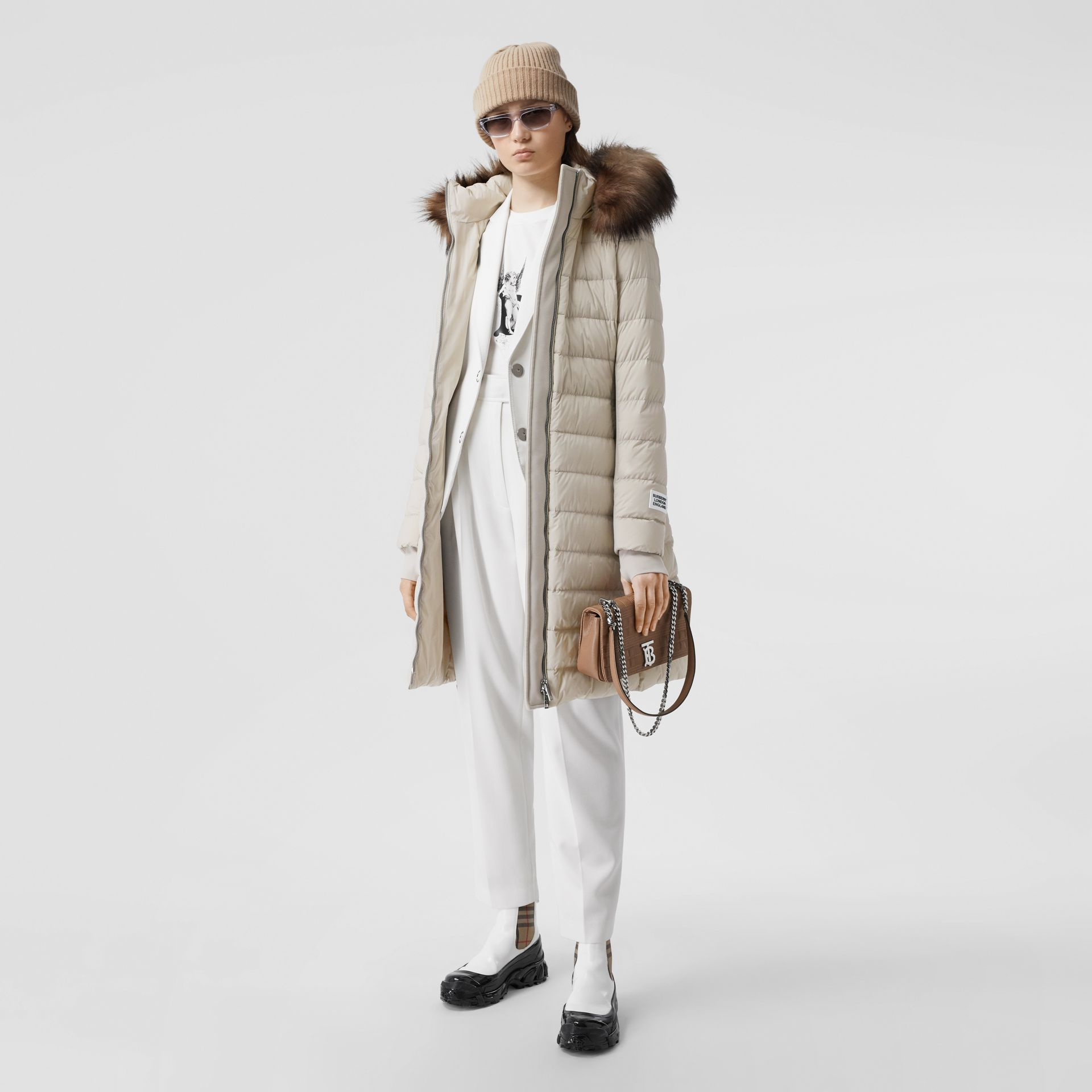 Detachable Faux Fur Trim Hooded Puffer Coat in Neutral Olive - Women | Burberry - gallery image 0