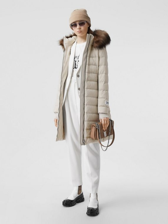 Detachable Faux Fur Trim Hooded Puffer Coat in Neutral Olive