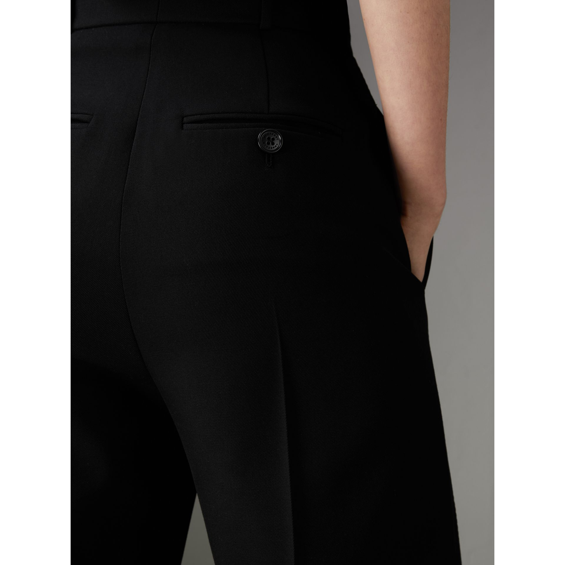Wool High-waisted Trousers in Black - Women | Burberry United Kingdom - gallery image 1