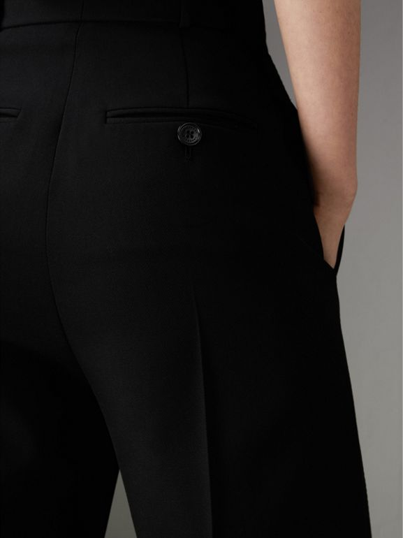 Wool High-waisted Trousers in Black - Women | Burberry United Kingdom - cell image 1