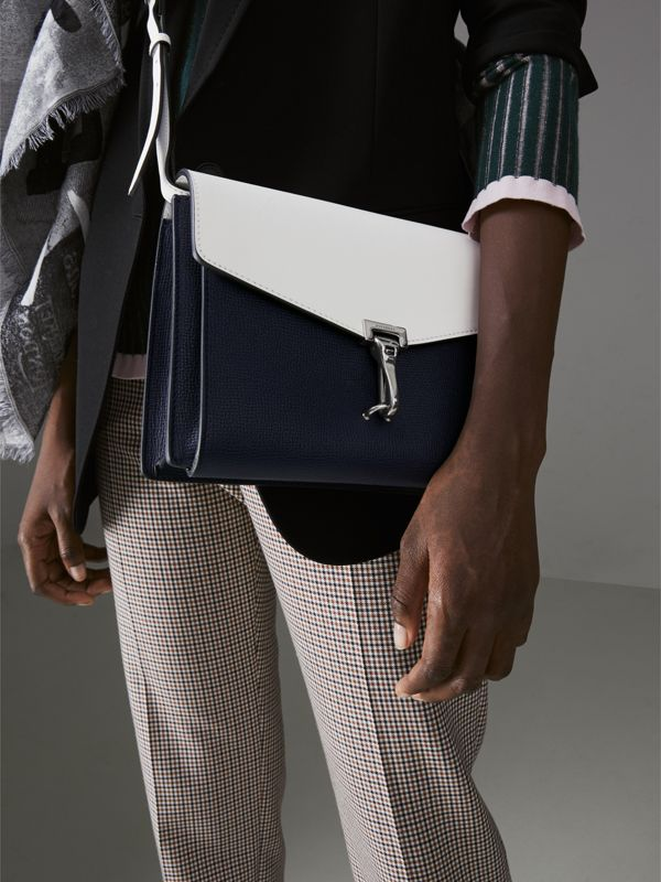 Two-tone Leather Crossbody Bag in Regency Blue/chalk White - Women | Burberry - cell image 3