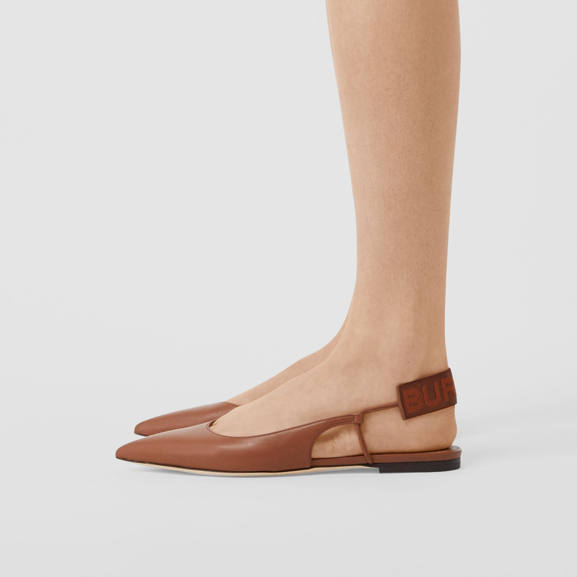 Logo Detail Leather Slingback Flats in Tan - Women | Burberry - gallery image 2