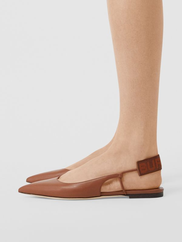 Logo Detail Leather Slingback Flats in Tan - Women | Burberry - cell image 2
