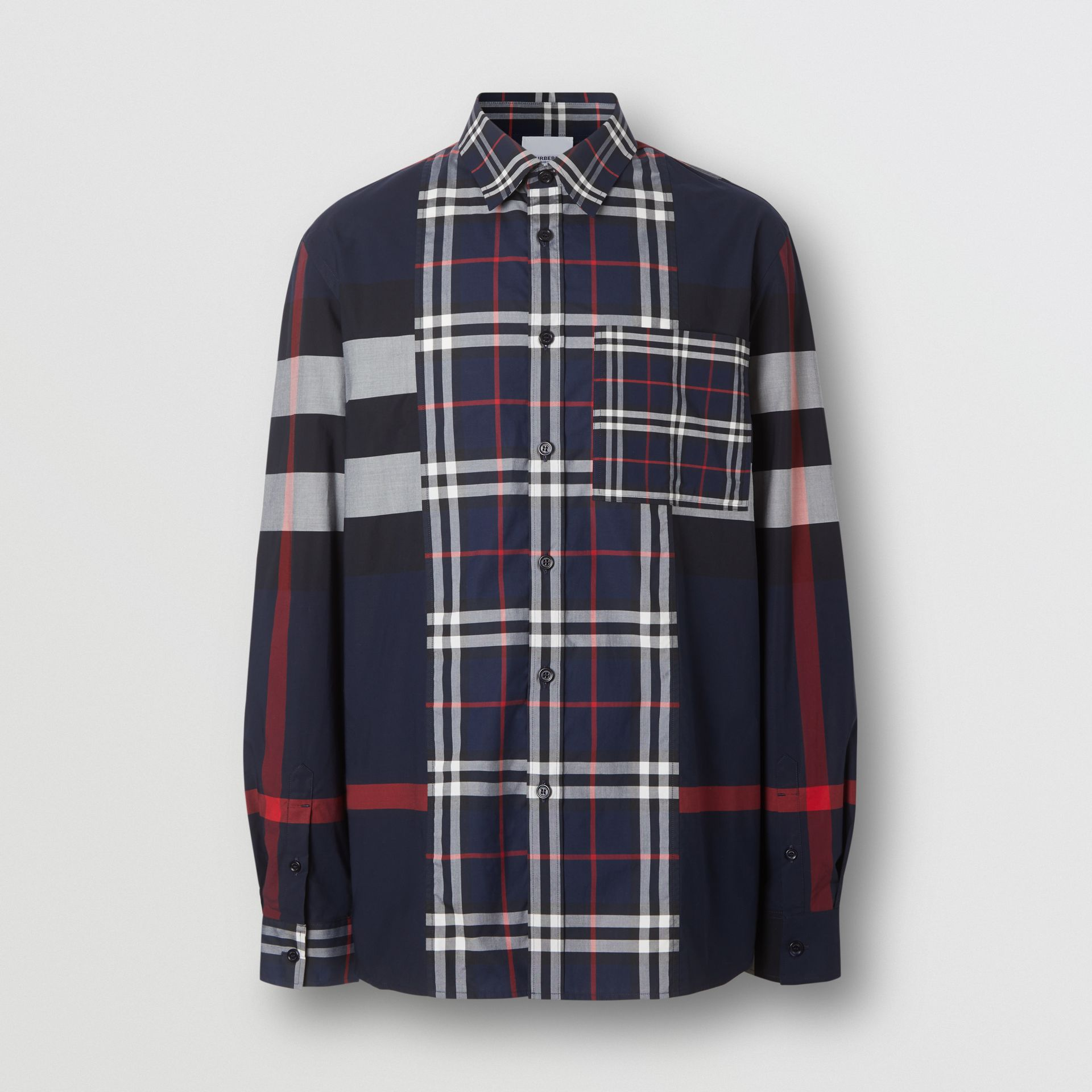 Patchwork Check Stretch Cotton Poplin Shirt in Navy - Men | Burberry - gallery image 3