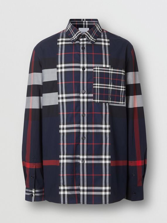 Patchwork Check Stretch Cotton Poplin Shirt in Navy