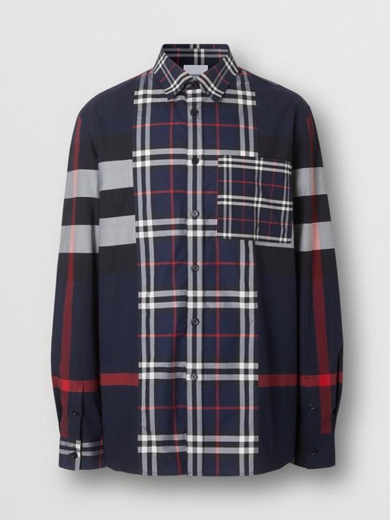 Camisa de popeline de algodão stretch com patchwork xadrez (Azul-marinho)