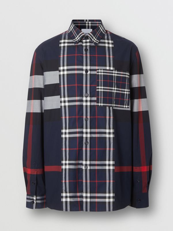 Patchwork Check Stretch Cotton Poplin Shirt in Navy - Men | Burberry - cell image 3