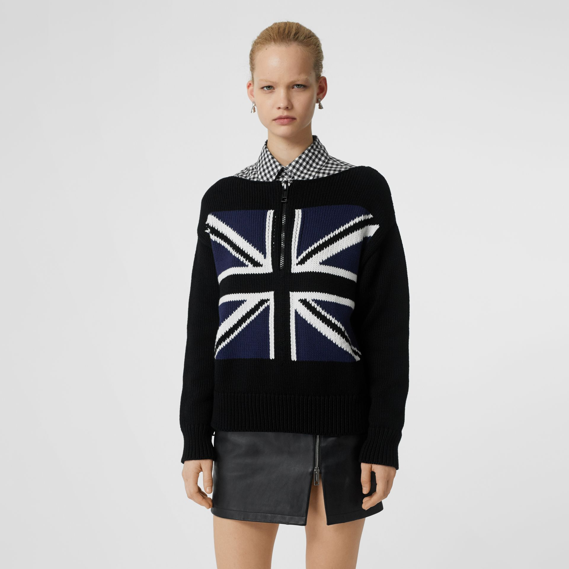 Zip Detail Union Jack Intarsia Cotton Sweater in Black - Women | Burberry - gallery image 4