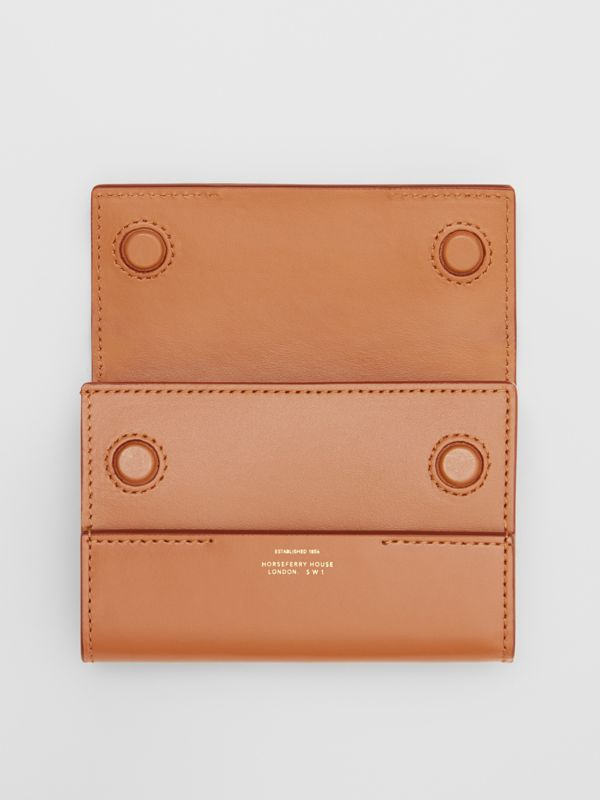 Horseferry Print Leather Folding Wallet in Nutmeg - Women | Burberry - cell image 2