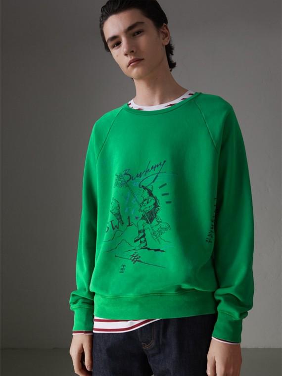 Adventure Print Cotton Sweatshirt in Bright Green