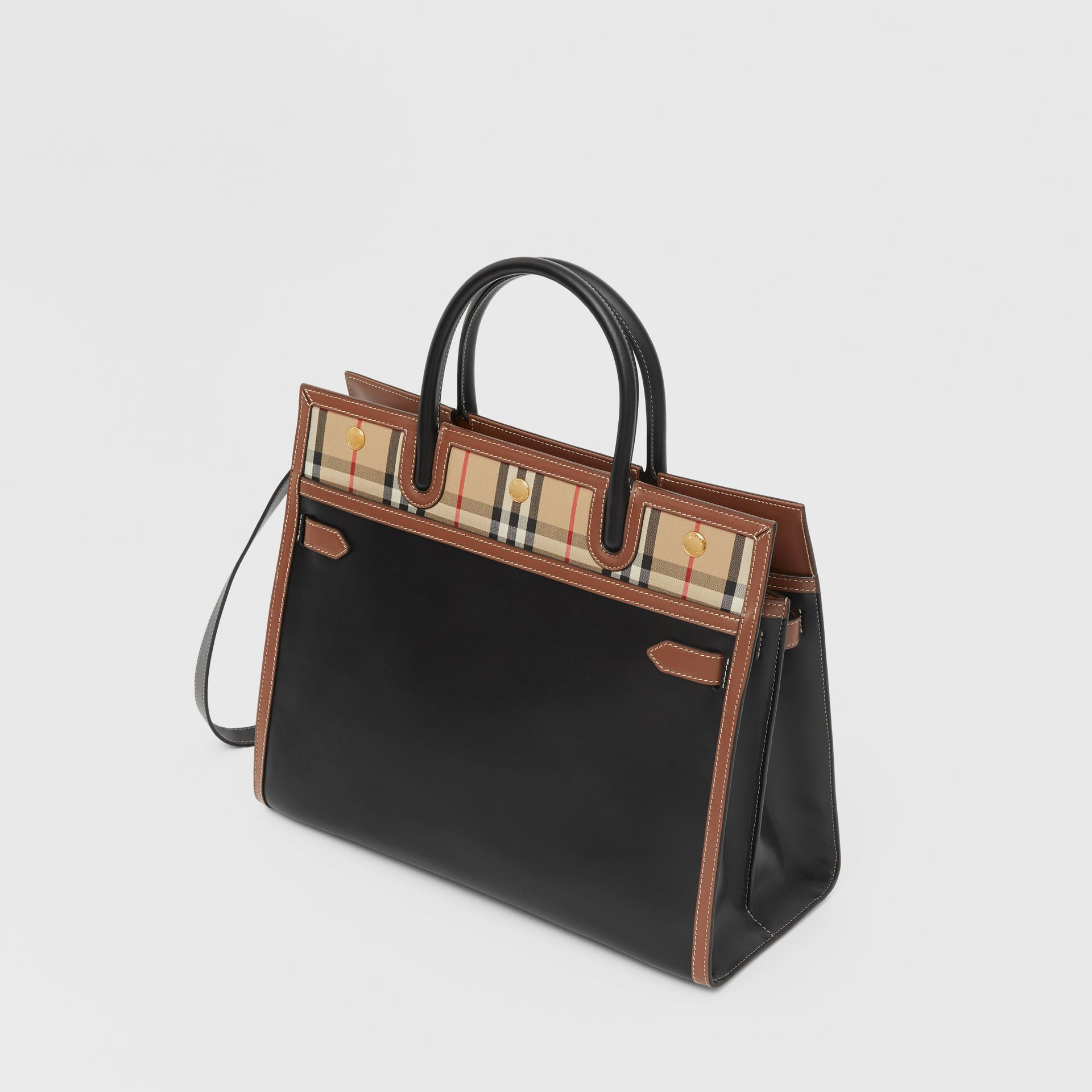 Medium Leather and Vintage Check Two-handle Title Bag in Black - Women | Burberry - gallery image 3