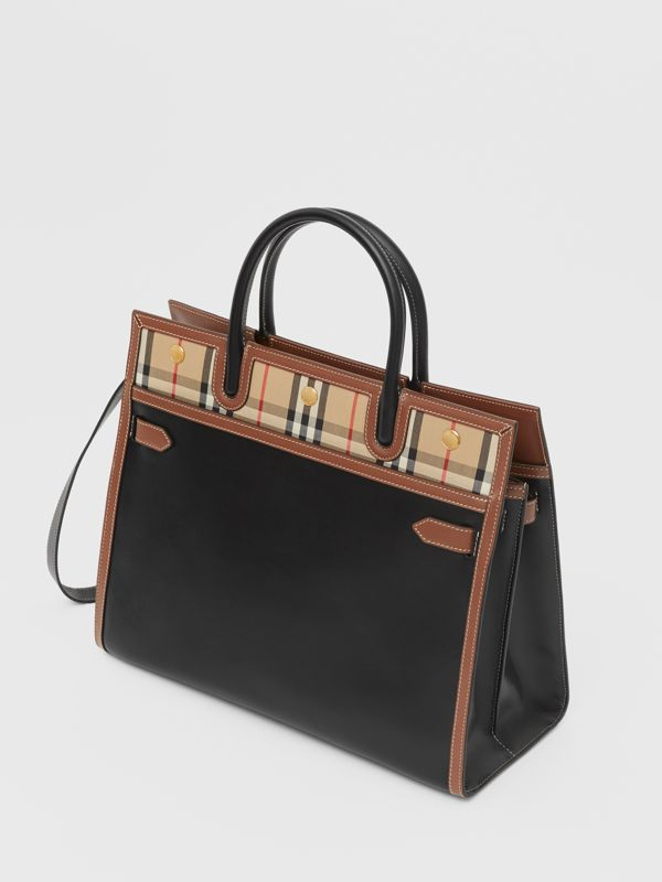 Medium Leather and Vintage Check Two-handle Title Bag in Black - Women | Burberry - cell image 3