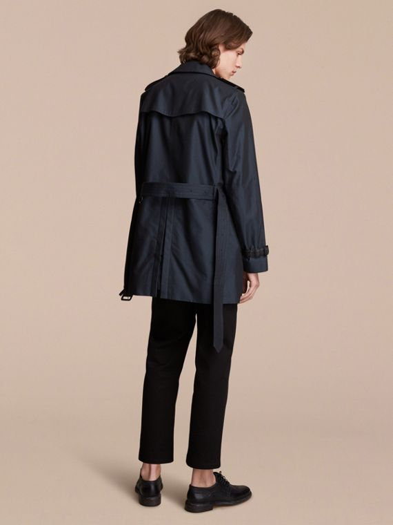 Leather Detail Cotton Gabardine Trench Coat - cell image 2