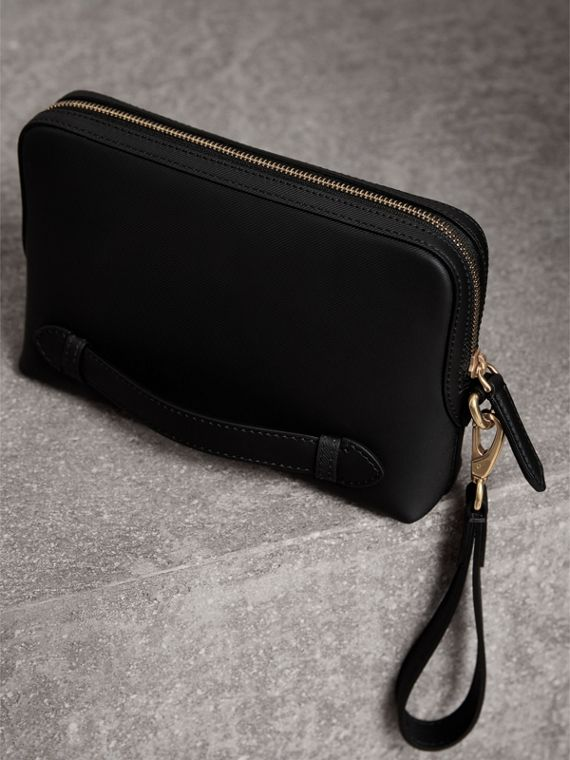 Trench Leather Pouch in Black | Burberry United Kingdom - cell image 3
