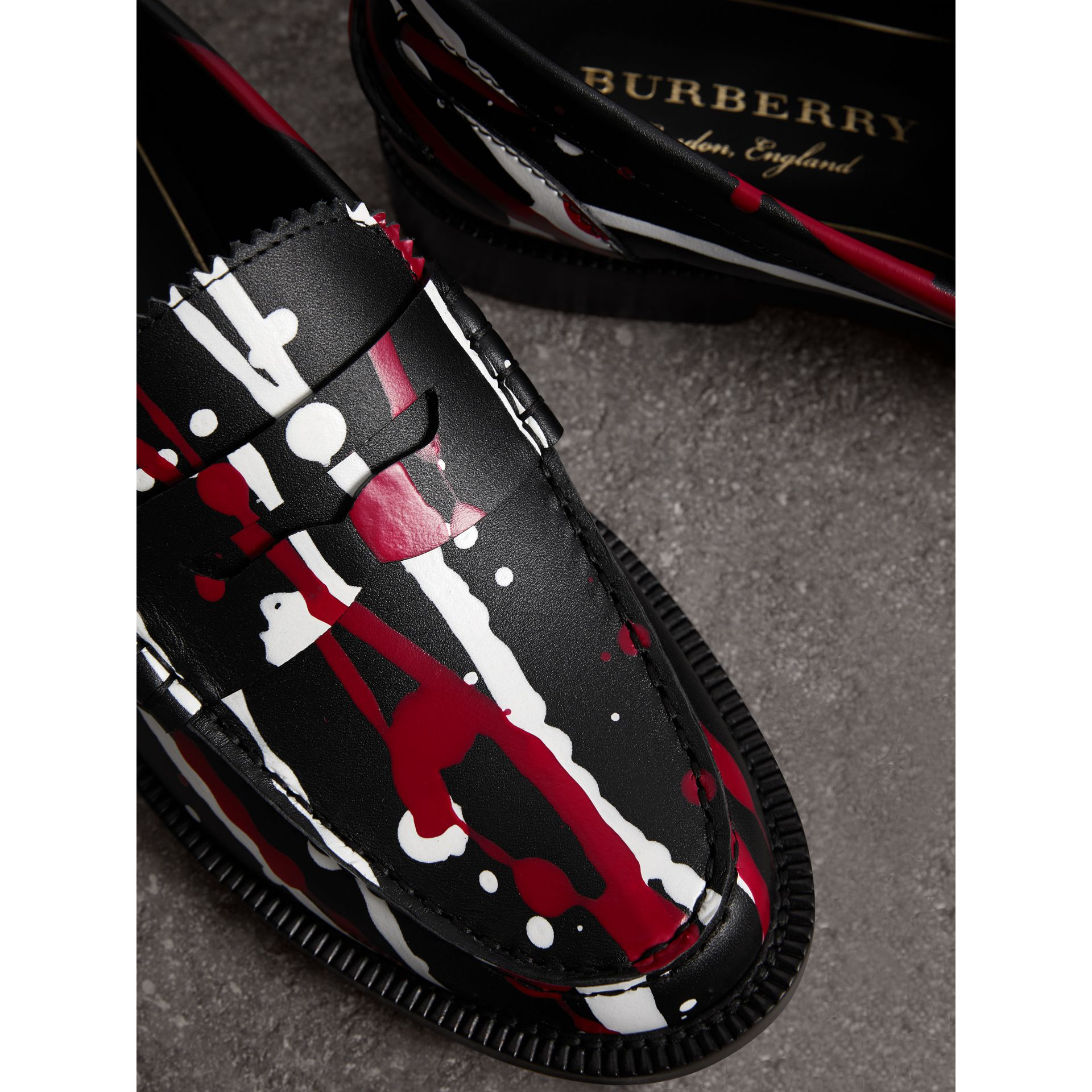 Splash Print Leather Penny Loafers in Fuchsia - Women | Burberry - gallery image 1
