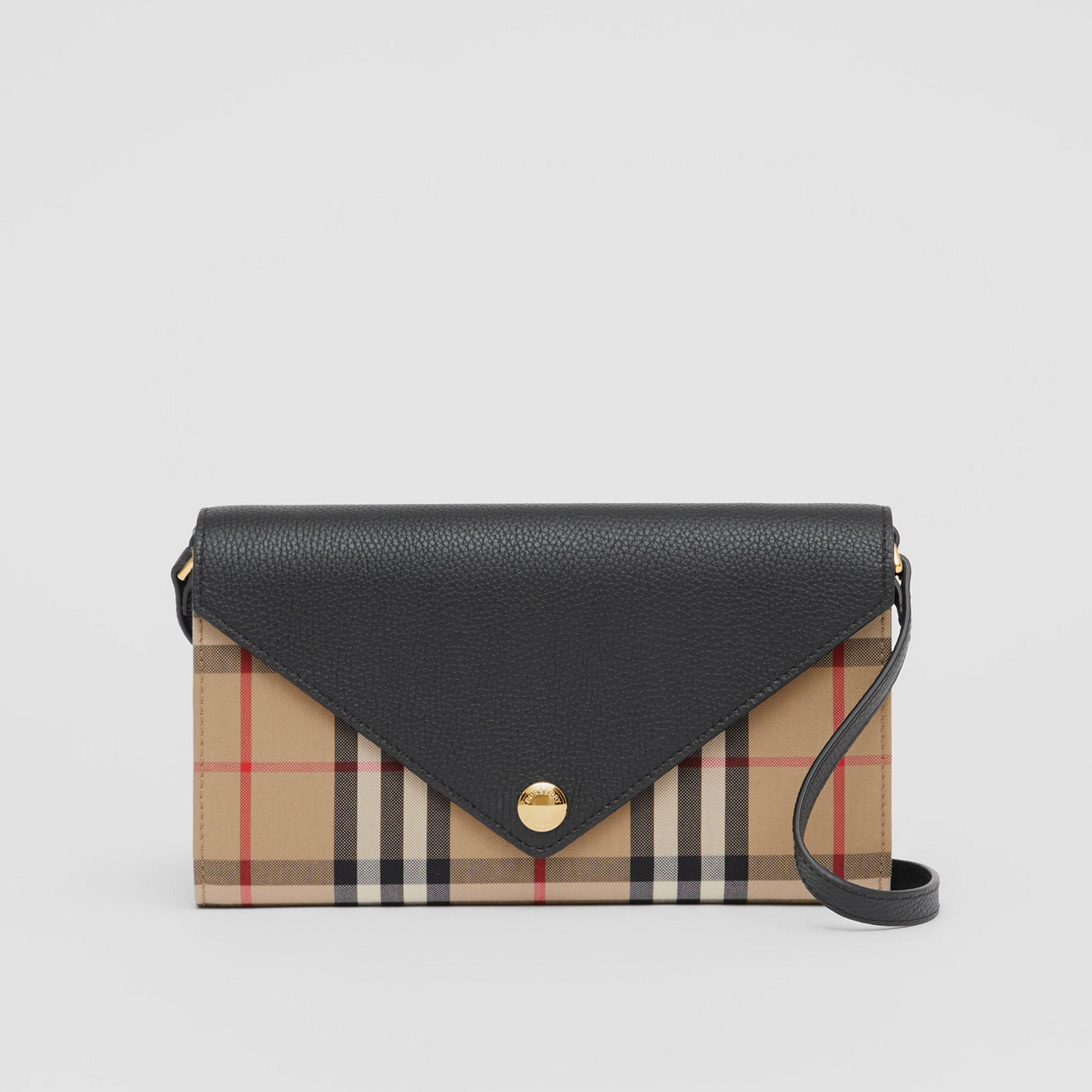 Vintage Check and Leather Wallet with Detachable Strap in Black - Women | Burberry - 1