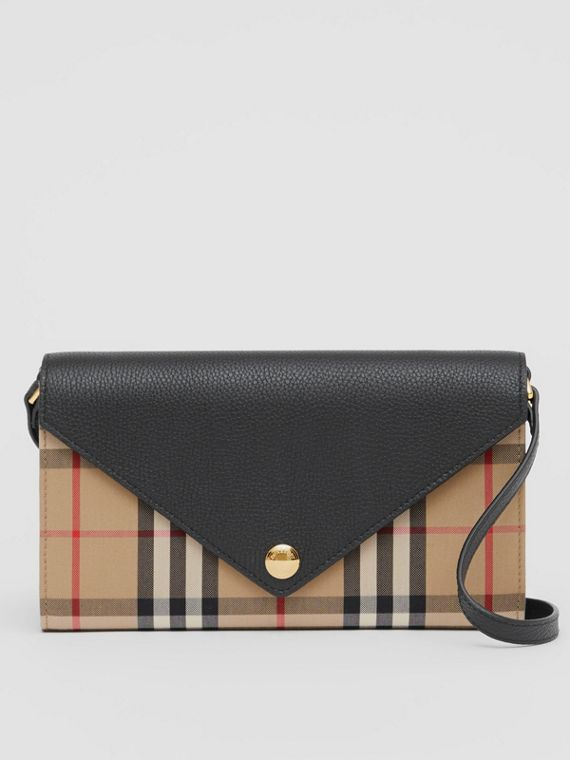 Vintage Check and Leather Wallet with Detachable Strap in Black