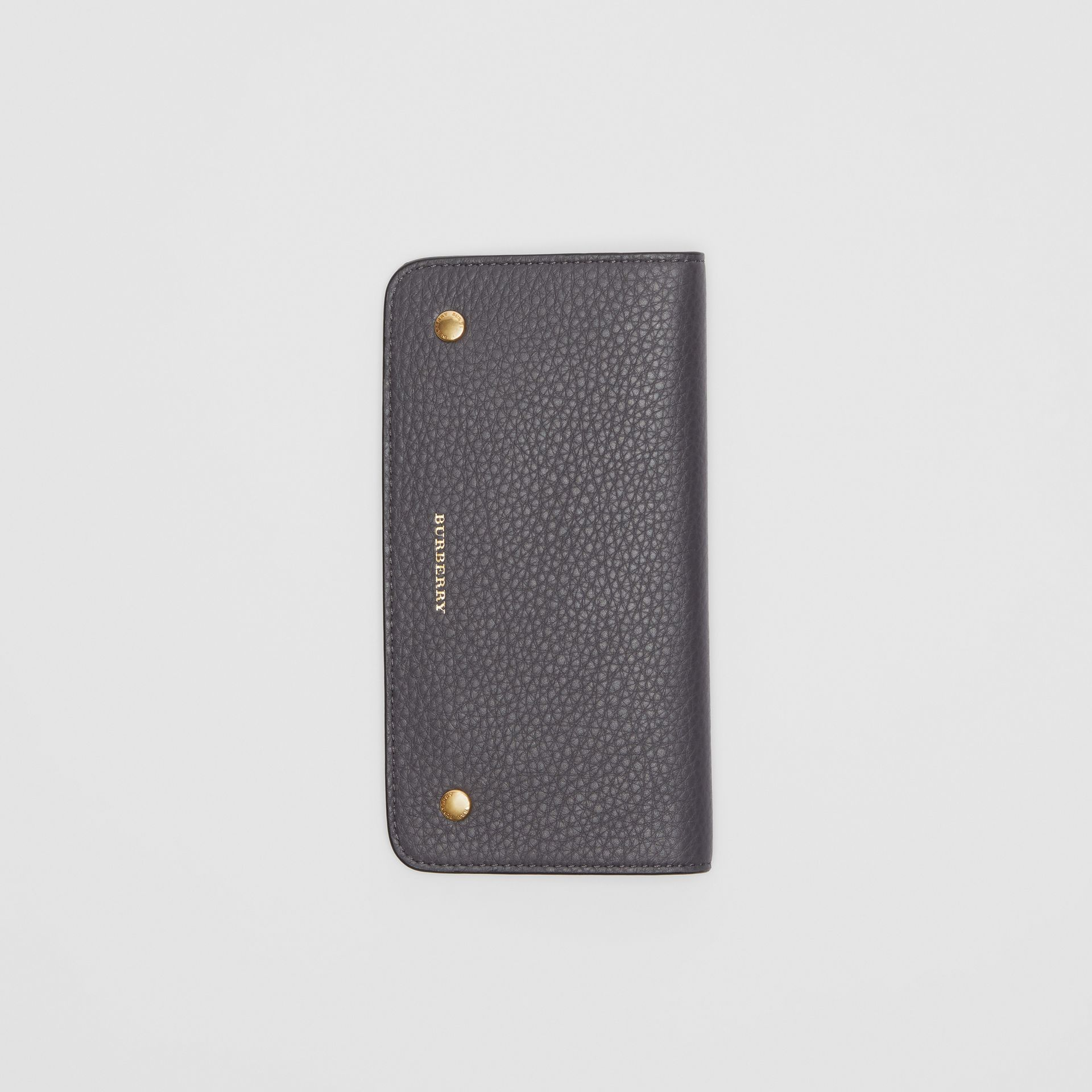 Leather Phone Wallet in Charcoal Grey - Women | Burberry - gallery image 3