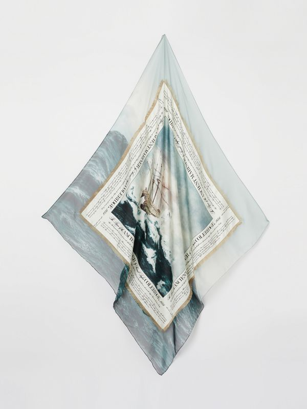 Mariner Print Silk Large Square Scarf in Deep Teal | Burberry United States - cell image 3