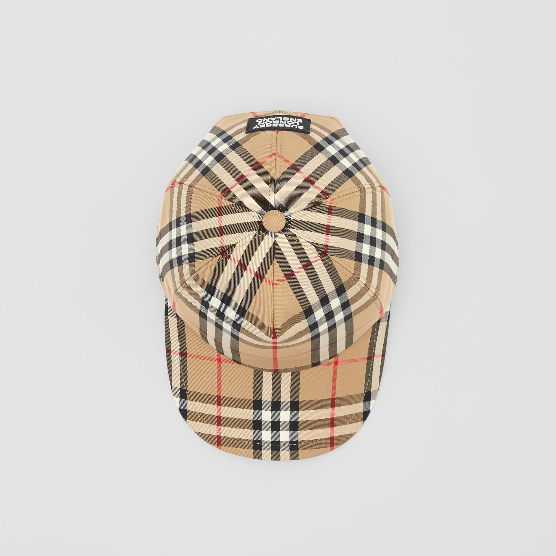 Logo Appliqué Vintage Check Baseball Cap in Archive Beige | Burberry United Kingdom - gallery image 0