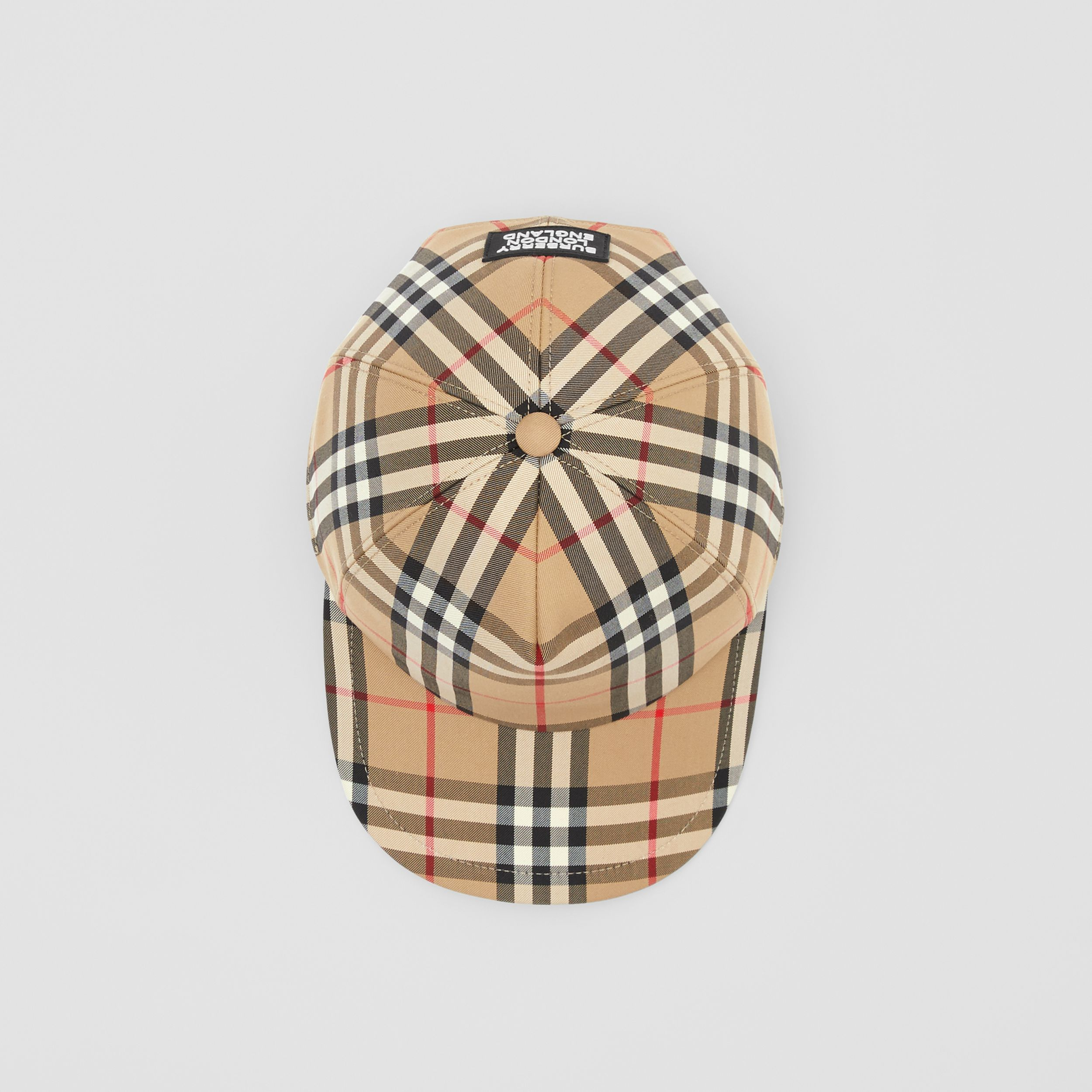 Logo Appliqué Vintage Check Baseball Cap in Archive Beige | Burberry Canada - 4