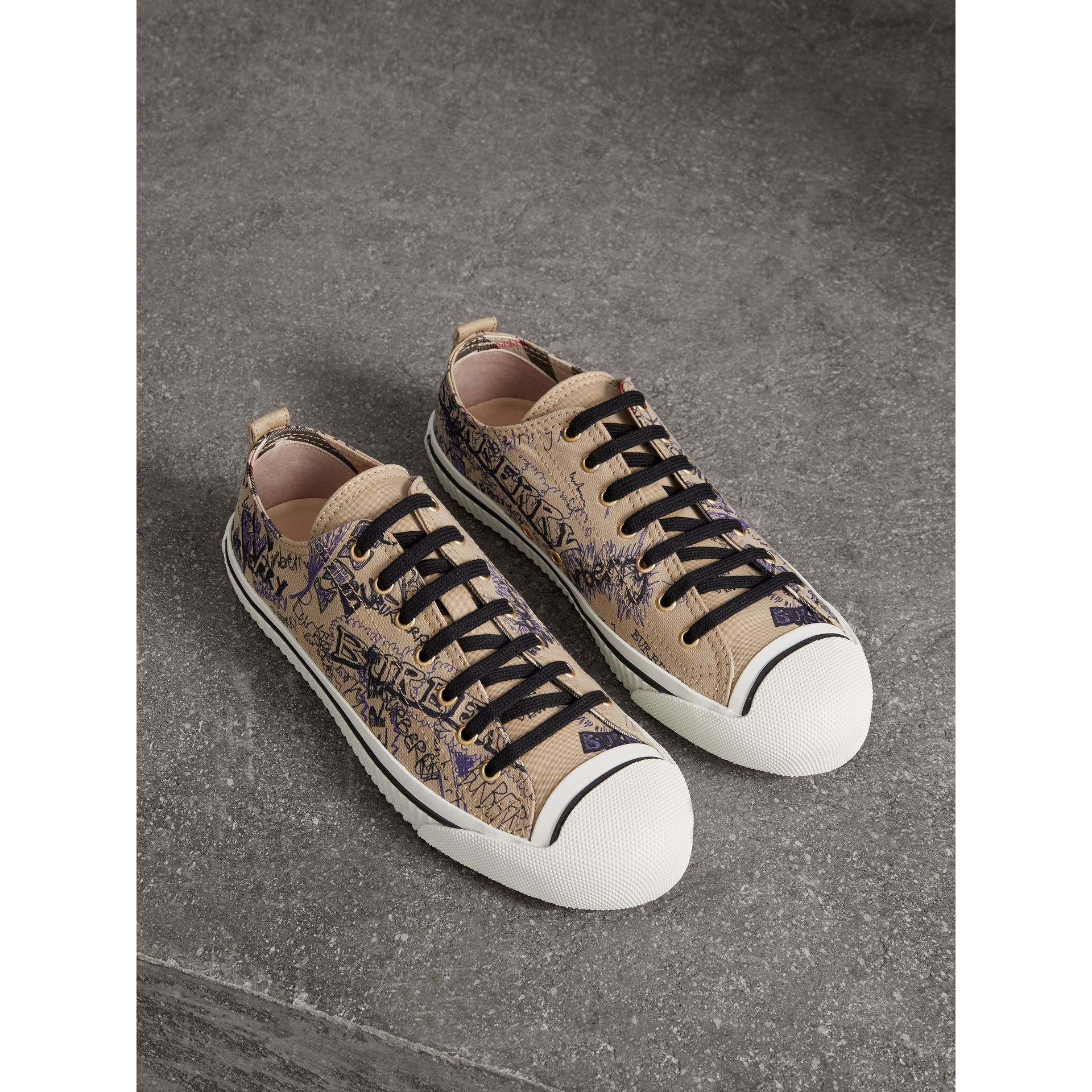 Doodle Print Cotton Gabardine Sneakers in Honey - Men | Burberry - gallery image 0