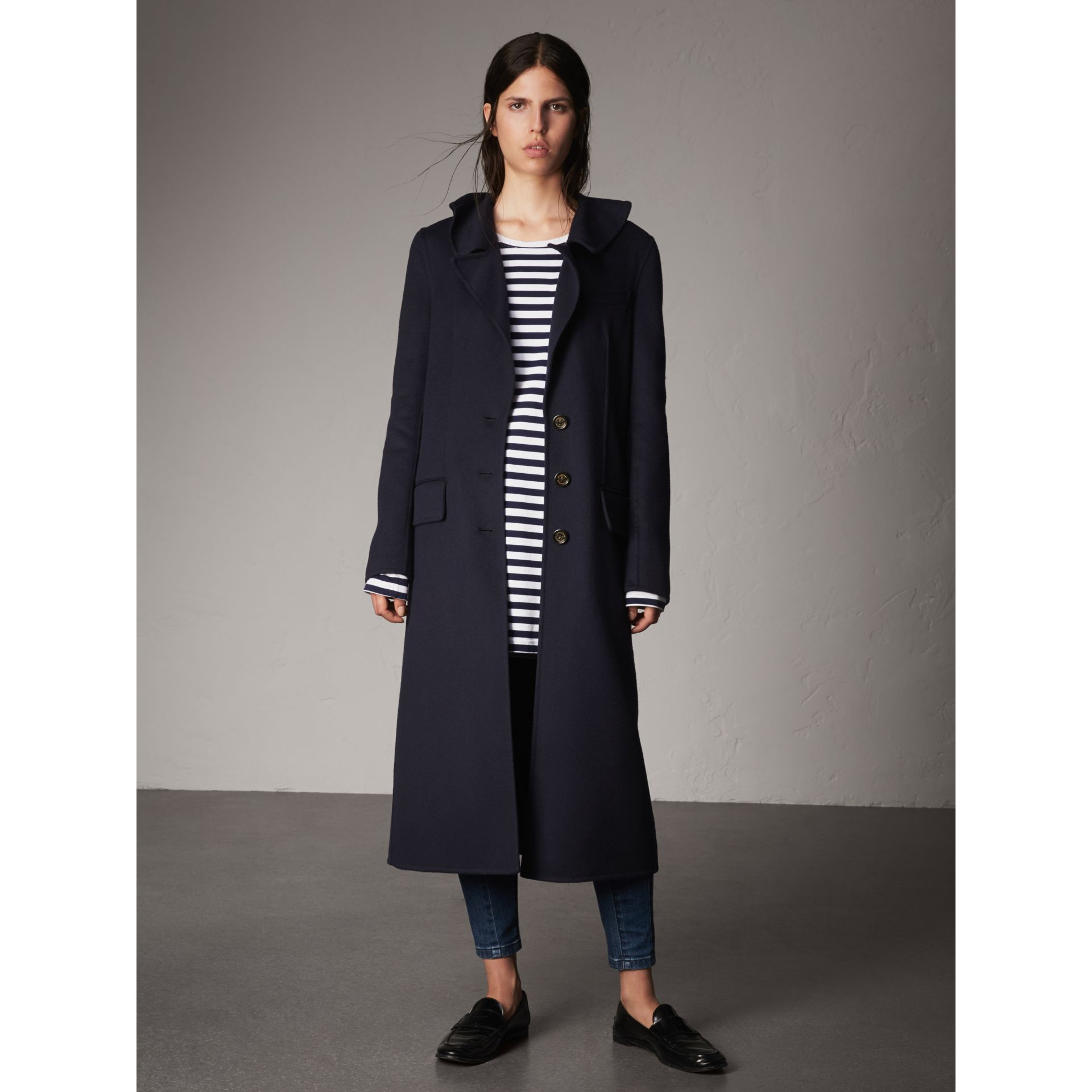 Ruffled Collar Wool Cashmere Coat in Navy - Women | Burberry Canada - gallery image 1