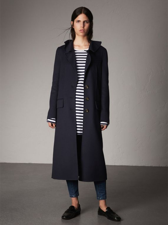 Ruffled Collar Wool Cashmere Coat in Navy - Women | Burberry