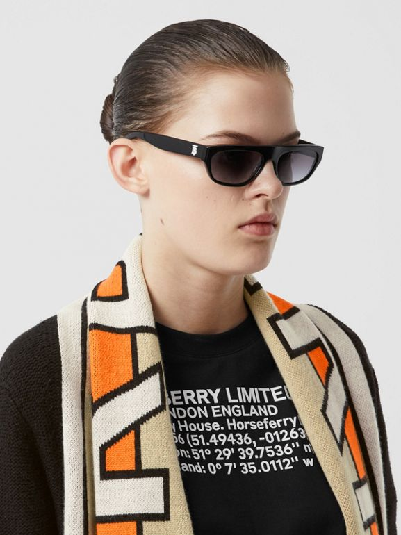 Logo Jacquard Scarf Detail Wool Cashmere Cardigan in Black - Women | Burberry United Kingdom - cell image 1
