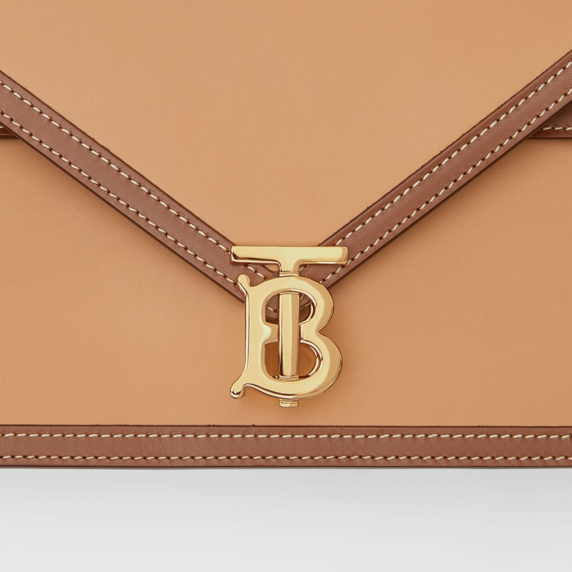 Small Two-tone Leather TB Envelope Clutch in Malt Brown - Women | Burberry - gallery image 7