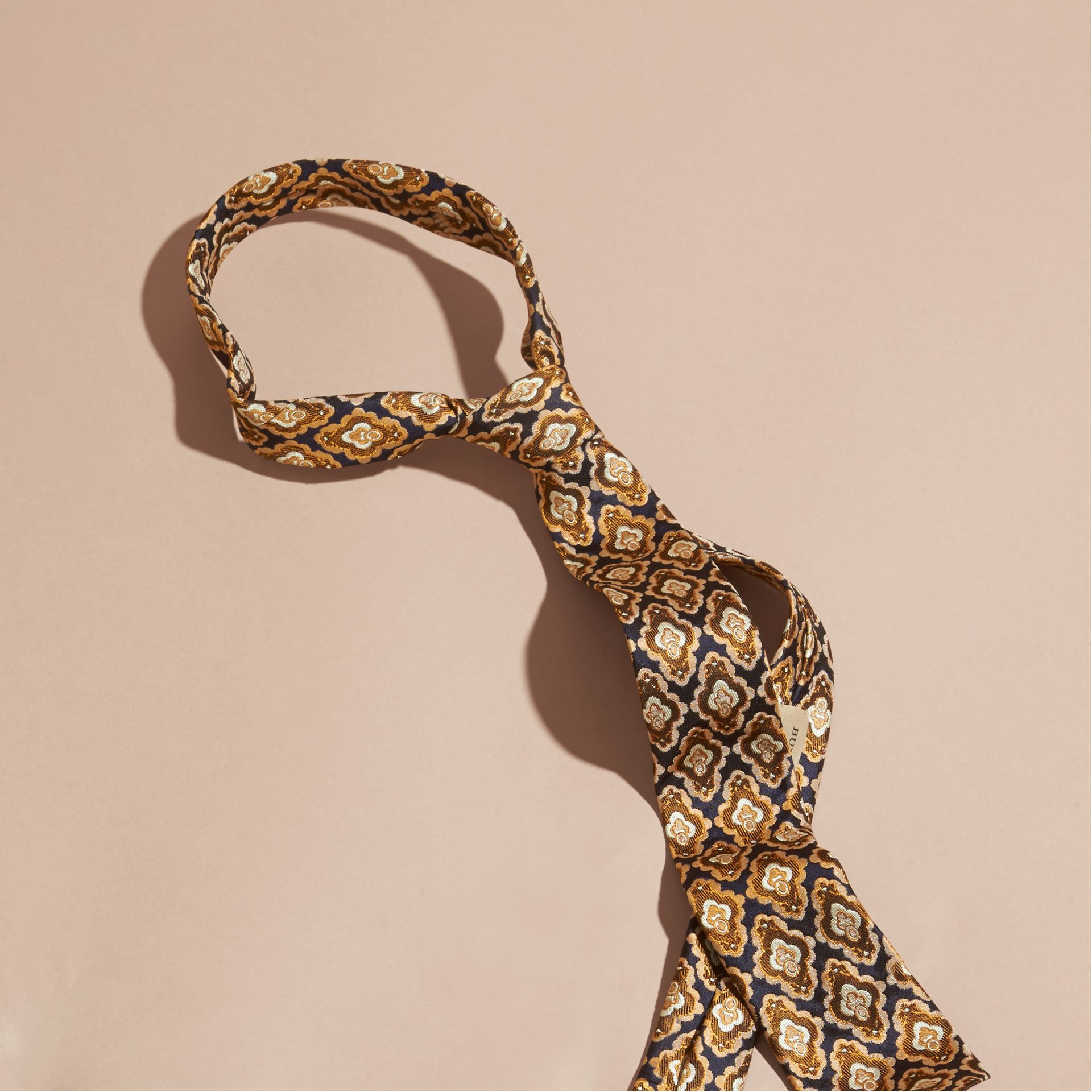 Navy Slim Cut Decorative Jacquard Silk Tie Navy - gallery image 1