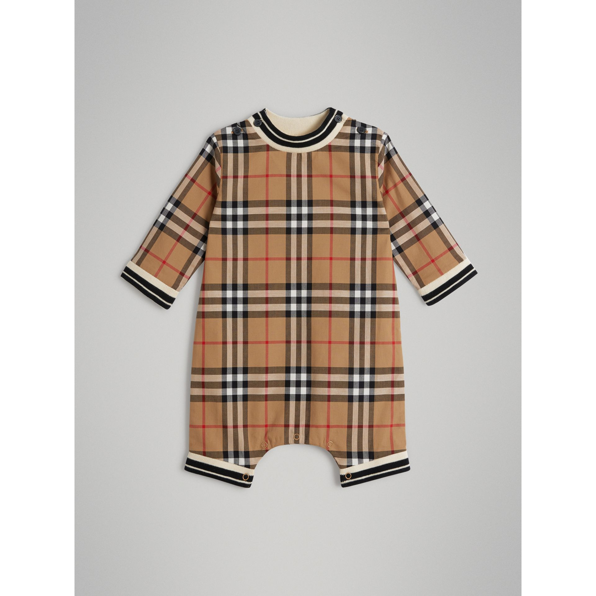 Vintage Check Cotton Poplin Jumpsuit in Antique Yellow - Children | Burberry Australia - gallery image 0