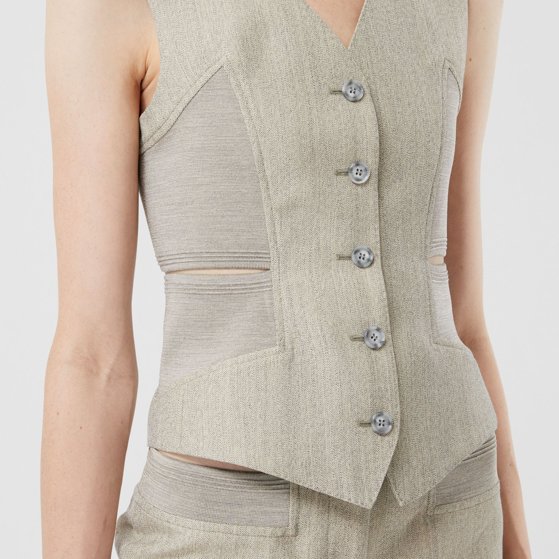 Cut-out Detail Technical Wool Waistcoat in Grey - Women | Burberry United Kingdom - gallery image 4