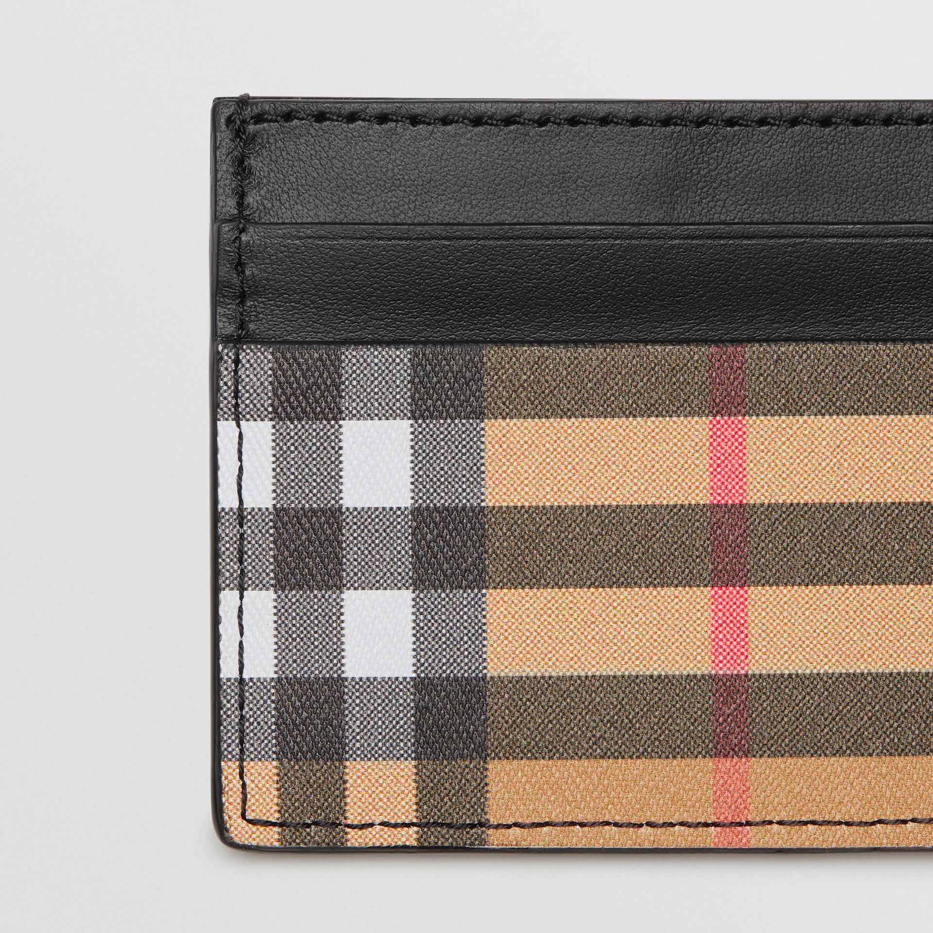 Vintage Check and Leather Card Case in Black | Burberry United Kingdom - gallery image 1