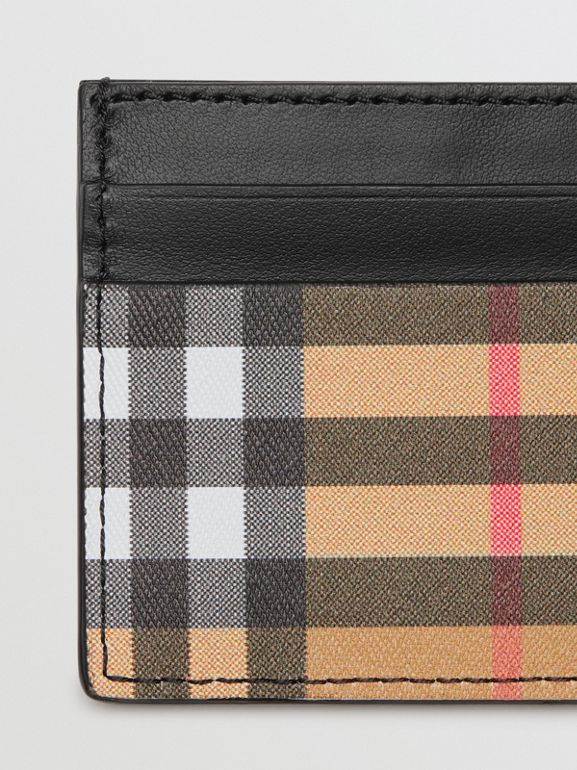 Vintage Check and Leather Card Case in Black - Men | Burberry United States - cell image 1