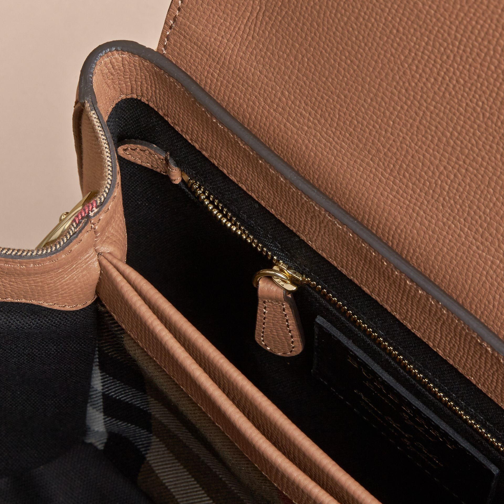 Small Grainy Leather and House Check Tote Bag in Dark Sand - gallery image 4