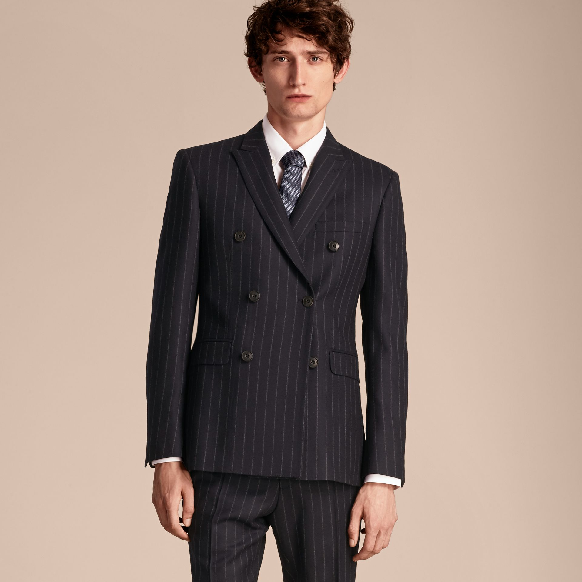 Navy Slim Fit Double-breasted Pinstripe Wool Suit - gallery image 8