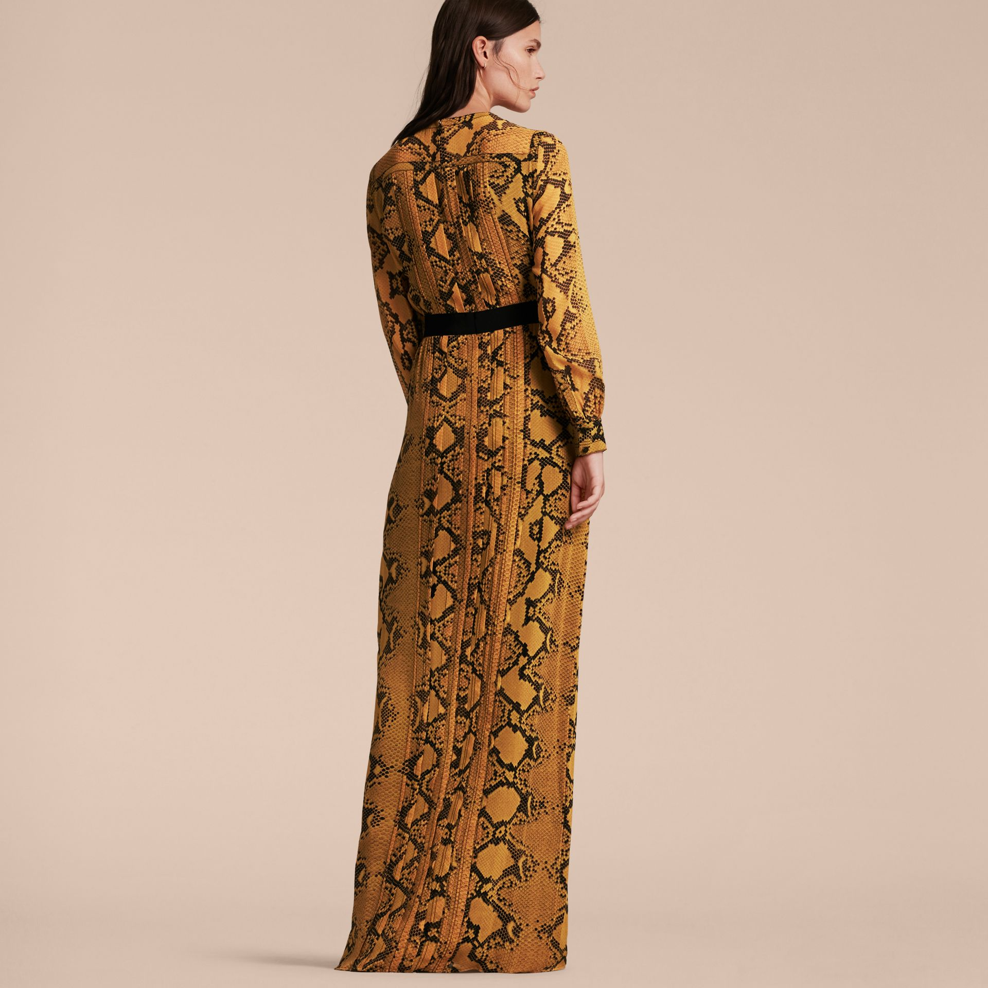 Amber yellow Floor-length Pleat Detail Python Print Silk Dress Amber Yellow - gallery image 3