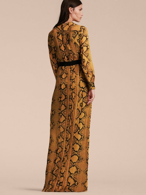 Amber yellow Floor-length Pleat Detail Python Print Silk Dress Amber Yellow - cell image 2