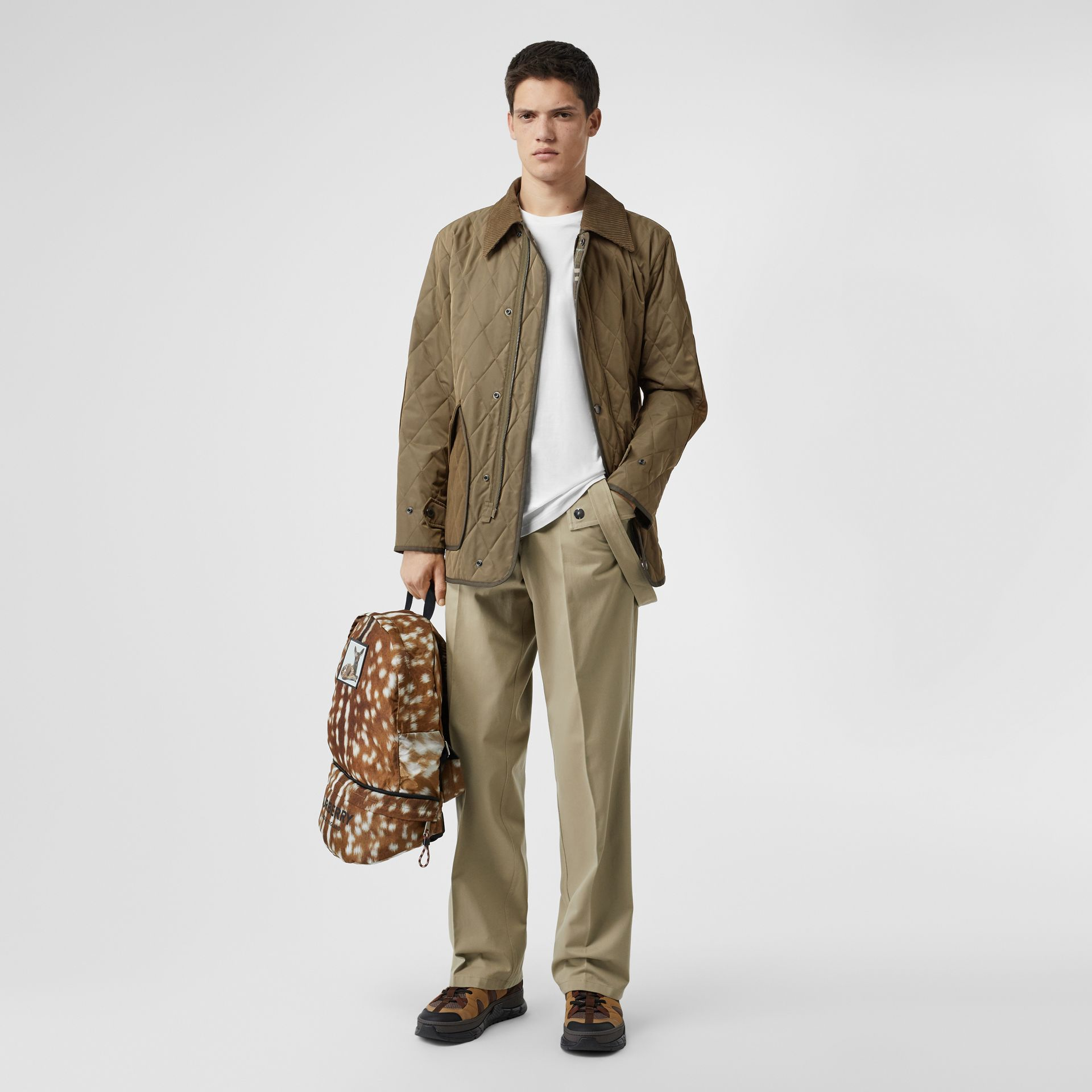 Diamond Quilted Thermoregulated Barn Jacket in Dark Olive - Men | Burberry Australia - gallery image 0