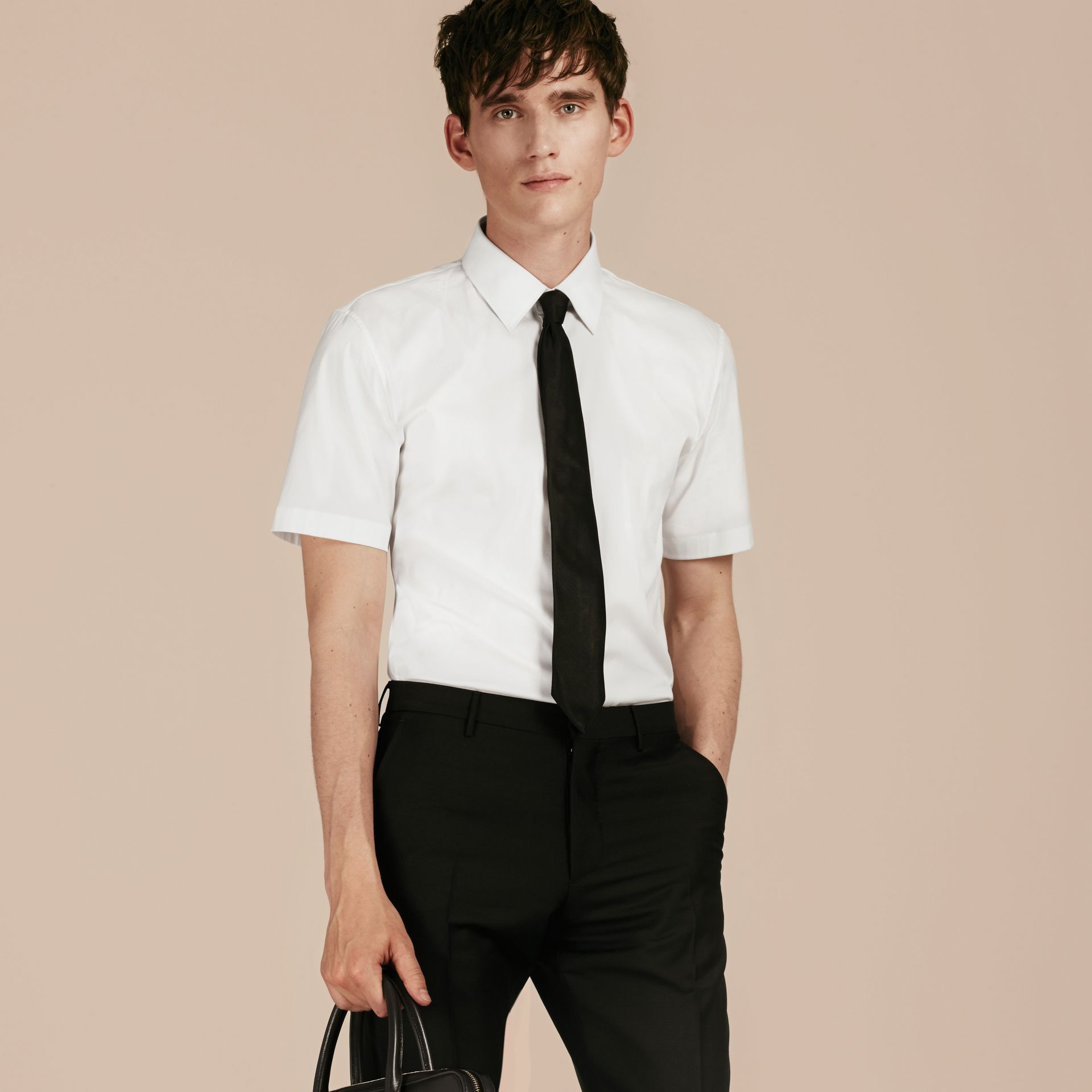 Slim Fit Short-sleeved Stretch Cotton Shirt - Men | Burberry - gallery image 5