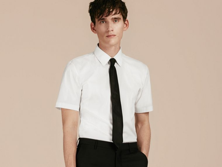 Slim Fit Short-sleeved Stretch Cotton Shirt in White - Men | Burberry - cell image 4