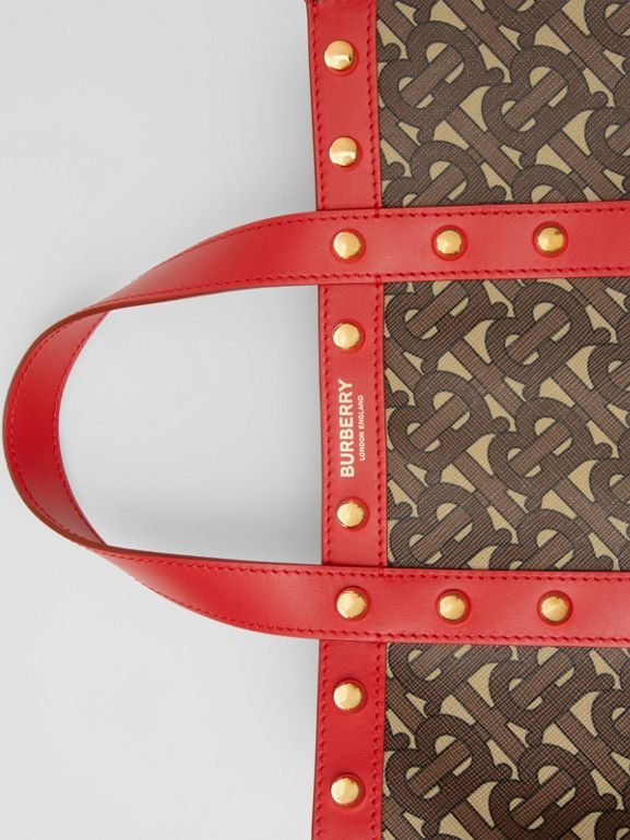 Small Monogram Print E-canvas Portrait Tote Bag in Bright Red - Women | Burberry - cell image 1