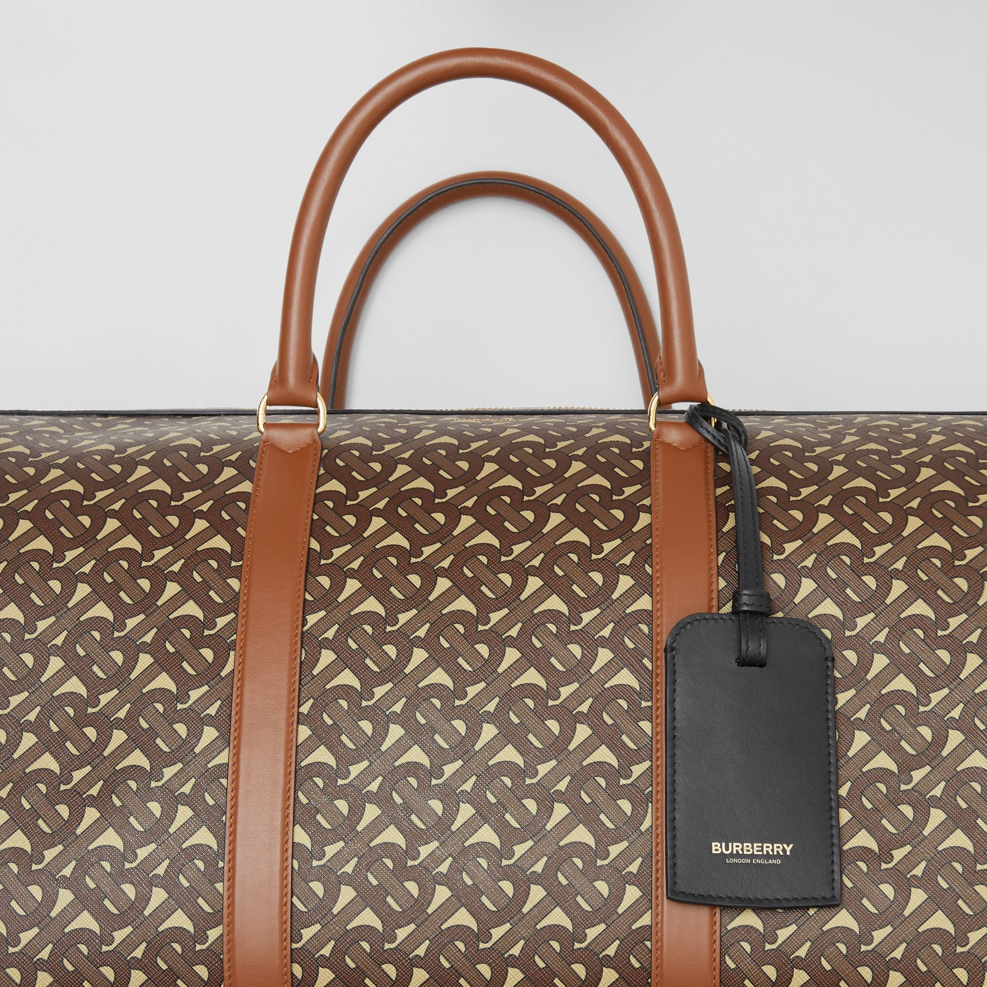 Monogram Print E-canvas and Leather Holdall in Bridle Brown - Men | Burberry - gallery image 8