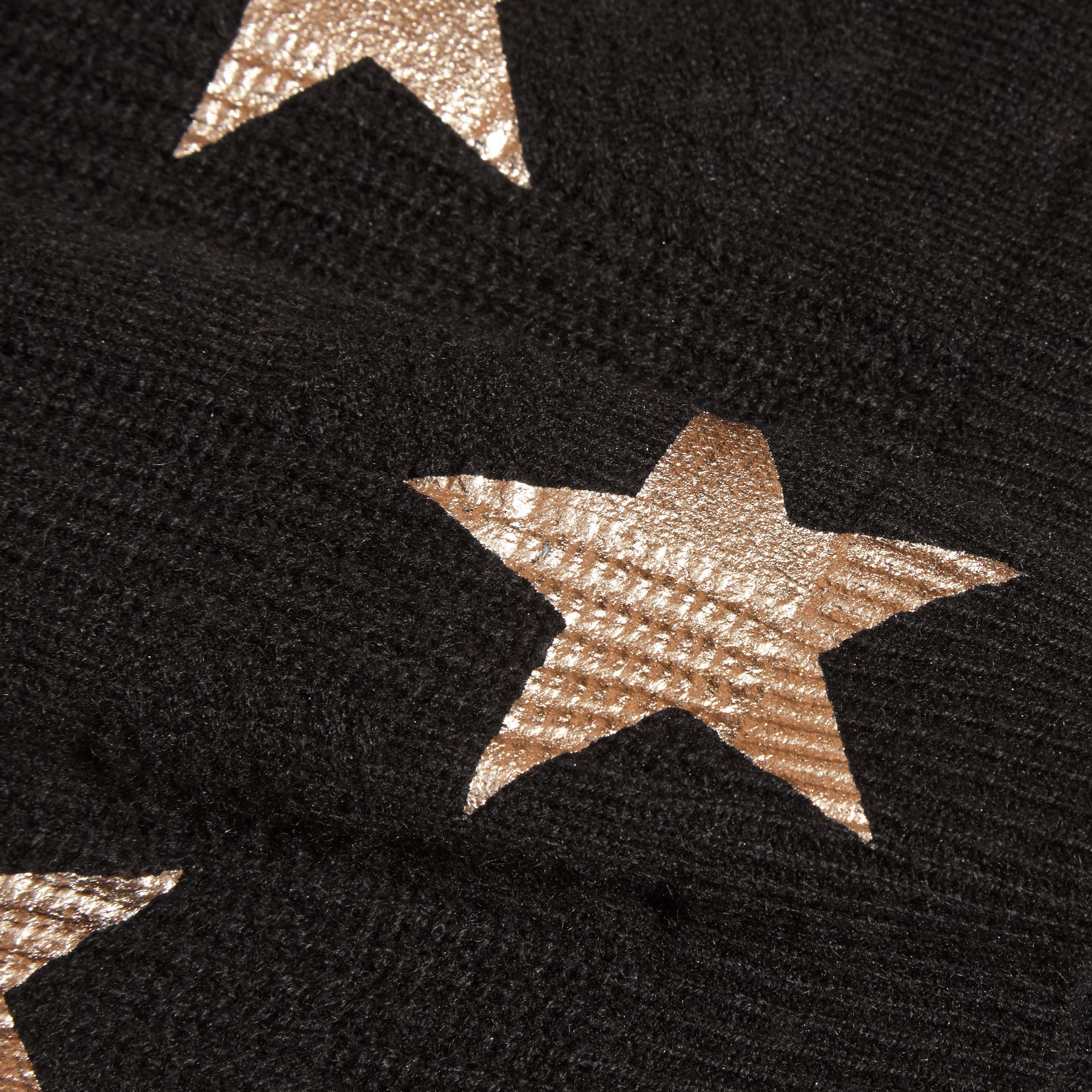 Black Star Print Textured Check Cashmere Sweater - gallery image 2