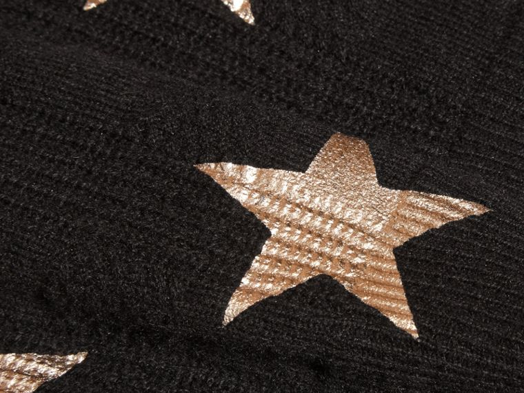 Black Star Print Textured Check Cashmere Sweater - cell image 1