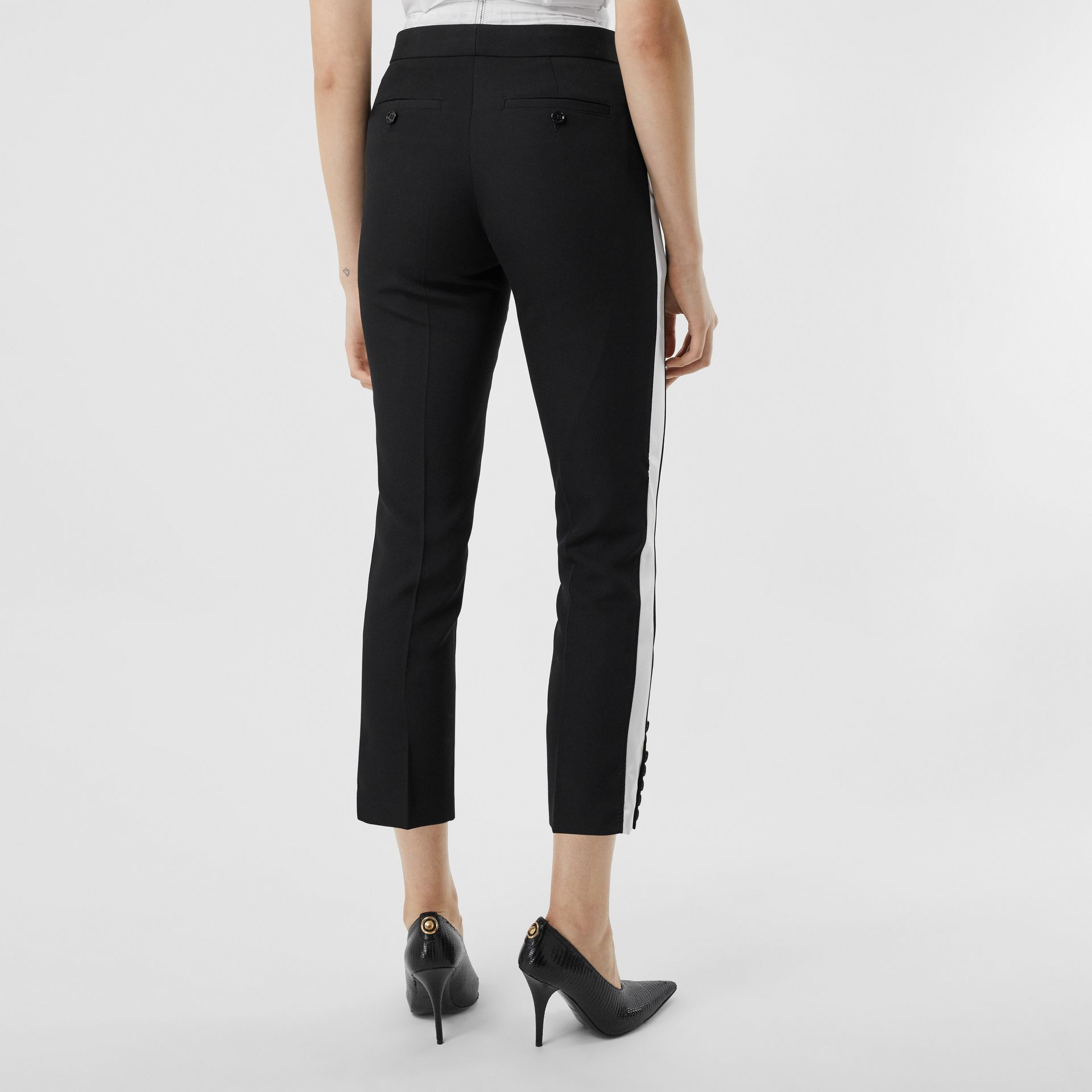 Side Stripe Wool Tailored Trousers in Black - Women | Burberry Singapore - gallery image 2